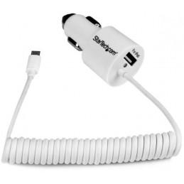 Adaptateur allume-cigare blanc micro USB et USB 2.0 - 21 Watt - 2 connecteur(s) de sortie - FCC, RoHS