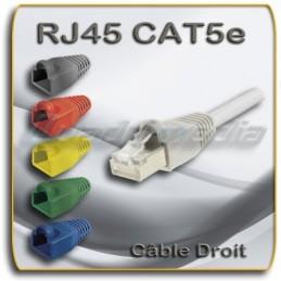 CÂBLE RJ45 30cm FTP CAT5e DROIT MANCHON DE PROTECTION COULEUR