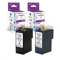 LEXMARK N° 34 + 35 CARTOUCHES JET D'ENCRE PACK COMPATIBLE ARMOR