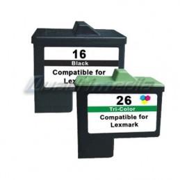 LEXMARK N° 16 + 26 CARTOUCHES JET D'ENCRE PACK COMPATIBLE