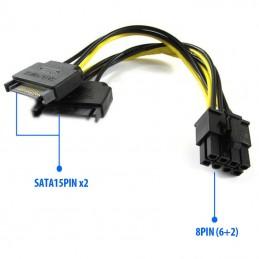 Adaptateur 2x Sata 15 pins vers PCIe 6/8 pins (6+2) pour carte PCI Express