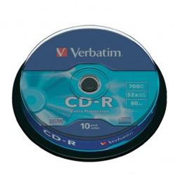 CD-R 700MB / 80MN VERBATIM ÉCRITURE 52X EXTRA PROTECTION - PACK DE 10 CD-R