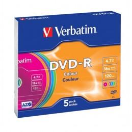 DVD-R 4,7GB / 120MIN VERBATIM ÉCRITURE 16X COULEUR - PACK DE 5 DVD-R