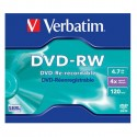 DVD-RW 4,7GB / 120MIN VERBATIM ÉCRITURE 4X MATT SILVER RÉINSCRIPTIBLE - BUNDLE