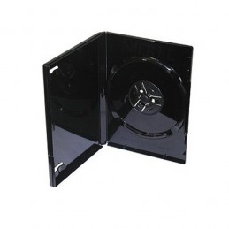BOITIER RANGEMENT 1 MINI CD / DVD 8CM EPAIS. 9MM NOIR 125x88x9mm