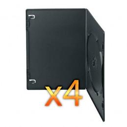 BOITIER RANGEMENT 1 CD / DVD EPAIS. 7MM NOIR SLIM 190x135x7mm - PAR 4