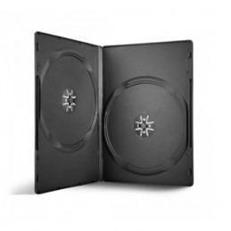 BOITIER RANGEMENT 2 CD / DVD EPAIS. 14MM NOIR 190x135x14mm
