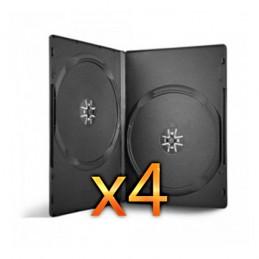 BOITIER RANGEMENT 2 CD / DVD EPAIS. 14MM NOIR 190x135x14mm - PAR 4