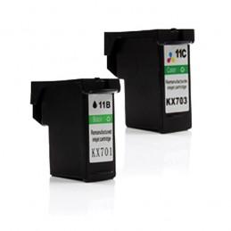 COMPATIBLE DELL SÉRIE 11 - KX701+KX703 REMANUFACTURES BK+TRI CARTOUCHE JET D'ENCRE PACK