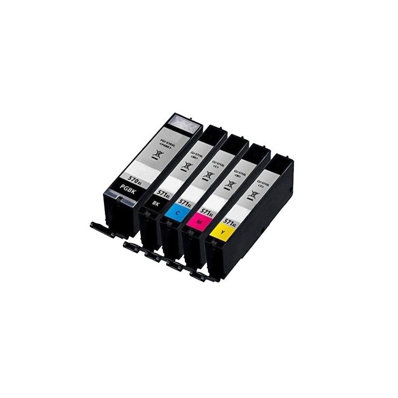 CANON PGI-570XL+CLI-571XL NO-OEM CART. JET D'ENCRE PACK BK/BK/C/M/Y COMPATIBLE