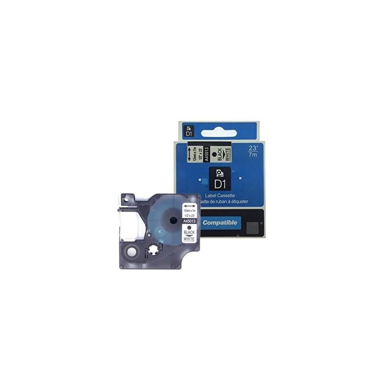 K7 DYMO D1 45013 NO-OEM S0720530 12mm x 7m NOIR SUR BLANC COMPATIBLE A45013 - VUE 1