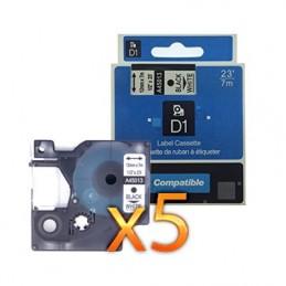 K7 DYMO D1 45013 NO-OEM S0720530 NOIR SUR BLANC COMPATIBLE A45013 - PAR 5