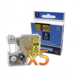 K7 DYMO D1 45018 NO-OEM S0720580 NOIR SUR JAUNE COMPATIBLE A45018 - PAR 5