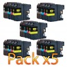 CR-LC123PK5 COMPATIBLE BROTHER LC-123 v3 NO-OEM - 20 CART. JET D'ENCRE - 5 x PACK BK/C/M/Y