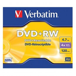 DVD+RW 4,7GB / 120MIN VERBATIM ÉCRITURE 4X MATT SILVER RÉINSCRIPTIBLE - BUNDLE - JAQUETTE