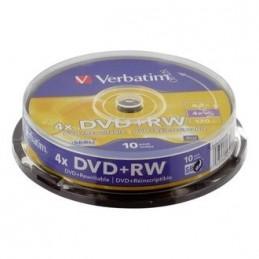 DVD+RW 4,7GB / 120MIN VERBATIM ÉCRITURE 4X MATT SILVER RÉINSCRIPTIBLE - CAKEBOX DE 10 DVD+RW