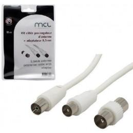 MCL Kit câble prolongateur d'antenne + adaptateur 9.5mm - longueur 10m