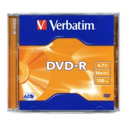 DVD-R 4,7GB / 120MIN VERBATIM ÉCRITURE 16X MATT SILVER - BOÎTE CRYSTAL