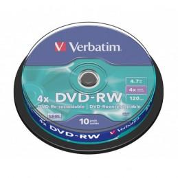 DVD-RW 4,7GB / 120MIN VERBATIM ÉCRITURE 4X MATT SILVER RÉINSCRIPTIBLE - CAKEBOX DE 10 DVD-RW