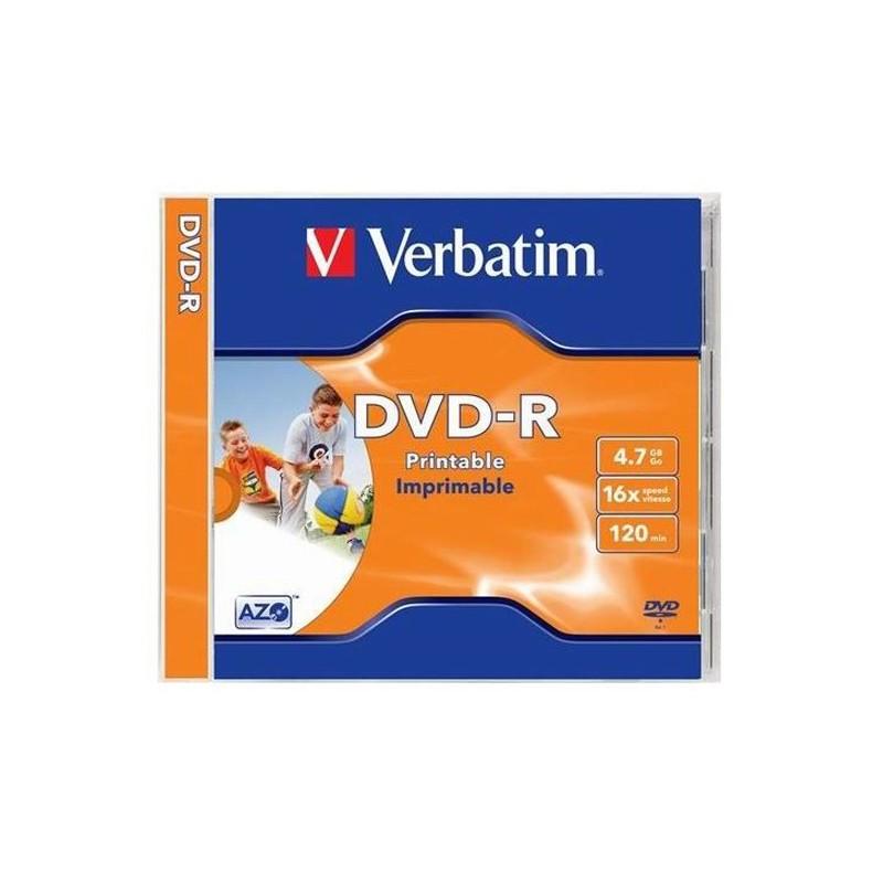 DVD-R 4,7GB / 120MIN VERBATIM ÉCRITURE 16X IMPRIMABLE INKJET PRINTABLE - BOITIER