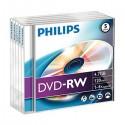 DVD-RW 4,7GB / 120MIN PHILIPS ÉCRITURE 4X RÉINSCRIPTIBLE - PACK DE 5 DVD-RW