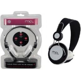 MCL Casque stéréo avec micro intégré (jack 4 voies) - 1.20m Blanc et Noir
