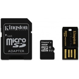 KINGSTON 16Go Micro SDHC UHS-I U1 + adaptateur SD + dadaptateur USB