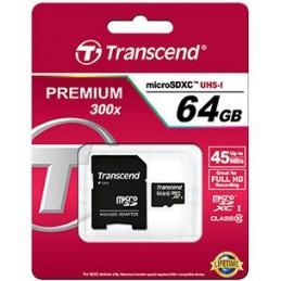 TRANSCEND 64Go Carte mémoire flash Premium microSDXC adaptateur SD inclus