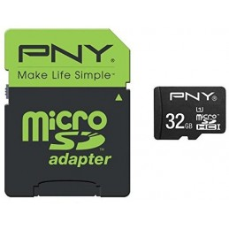 PNY 32Go microSDHC UHS-I + adaptateur SD inclus - UHS Class 1 / Class10