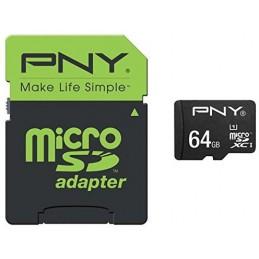 PNY 64Go Performance 2015 - Carte mémoire flash - adaptateur microSDXC vers SD - UHS Class 1 / Class10 - microSDXC UH
