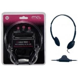 MCL Casque stéréo Noir avec contrôle du volume - Jack 3.5mm - câble 1.80m