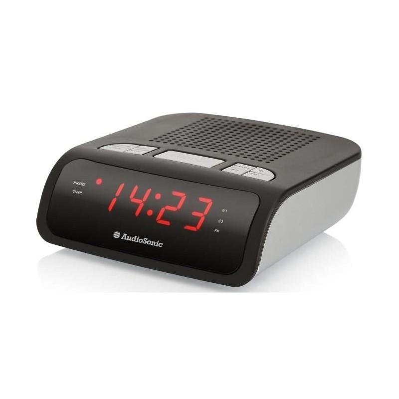 AUDIOSONIC CL-1459 Radio réveil FM PLL - Double alarme - Noir - vue de trois quart
