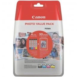 CANON CLI-571XL Pack Cyan, Magenta, Jaune, Noir et 50 feuilles papier photo