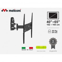 MELICONI MB400 FULL MOTION Support mural TV 40'' - 65'' (102 - 165cm) - 30Kg max - vue emballage