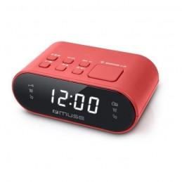 MUSE M-10 RED Radio réveil PLL - horloge 24h - 20 stations - Rouge