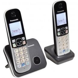 PANASONIC TG6812 Duo TÉLÉPHONE SANS FIL Dect - sans répondeur - Argent et noir - vue de trois quart