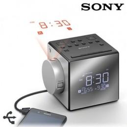 SONY ICF-C1PJ Radio réveil avec projection de l'heure - Tuner digital - Gris/Argent