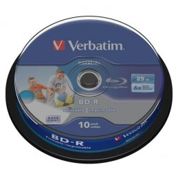 BD-R 25GB / 135mn HD VERBATIM ÉCRITURE 1-6X BLU-RAY DISC IMPRIMABLE - PACK DE 10 - CAKEBOX