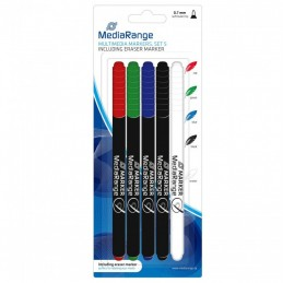 MEDIARANGE MULTIMEDIA MARQUEURS MR704 SET 5 - 0.7 mm - AVEC EFFACEUR - vue emballage