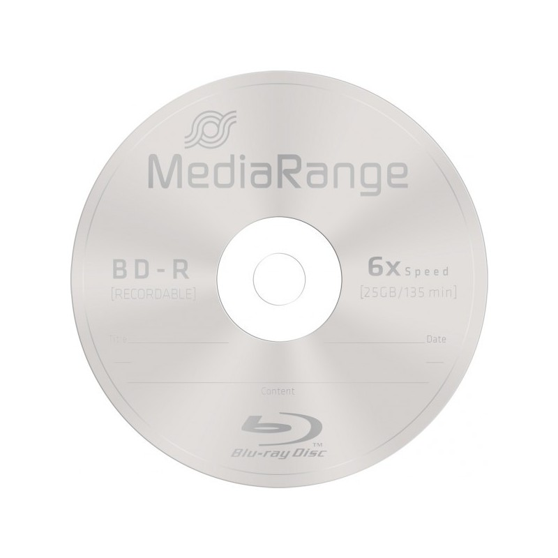 BD-R 25GB / 135mn MEDIARANGE ÉCRITURE 1-6X BLU-RAY DISC - BUNDLE