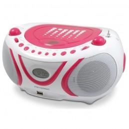 METRONIC 477109 Radio CD / Mp3 / USB - Blanc et rose