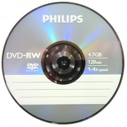DVD-RW 4,7GB / 120MIN PHILIPS ÉCRITURE 4X RÉINSCRIPTIBLE - BUNDLE